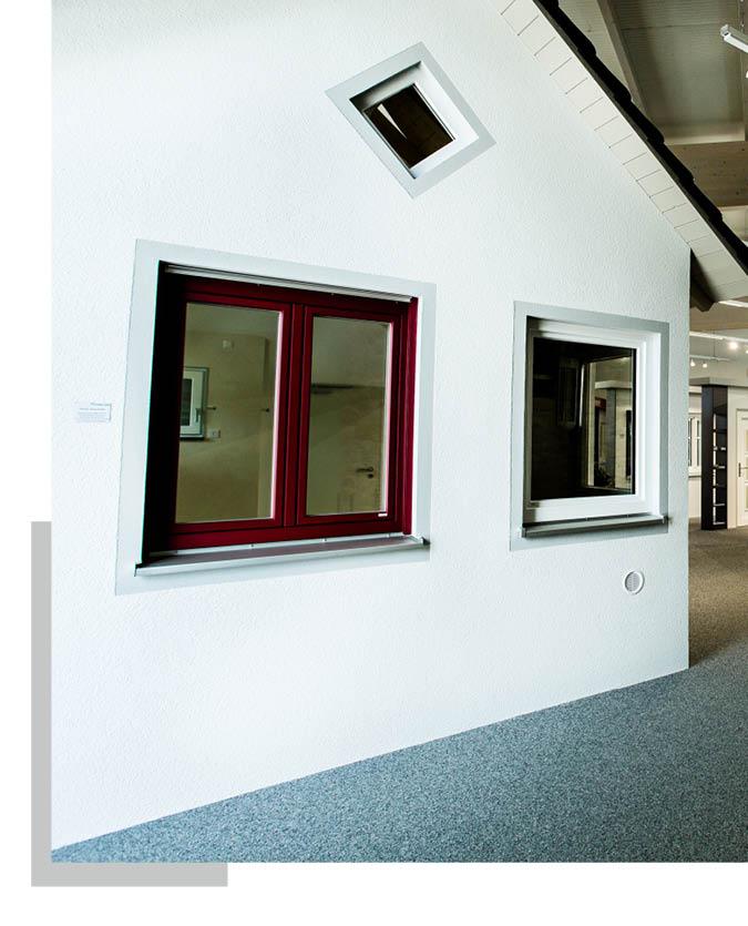 Fensterelemente in der Ausstellung von Schwarz & Sohn