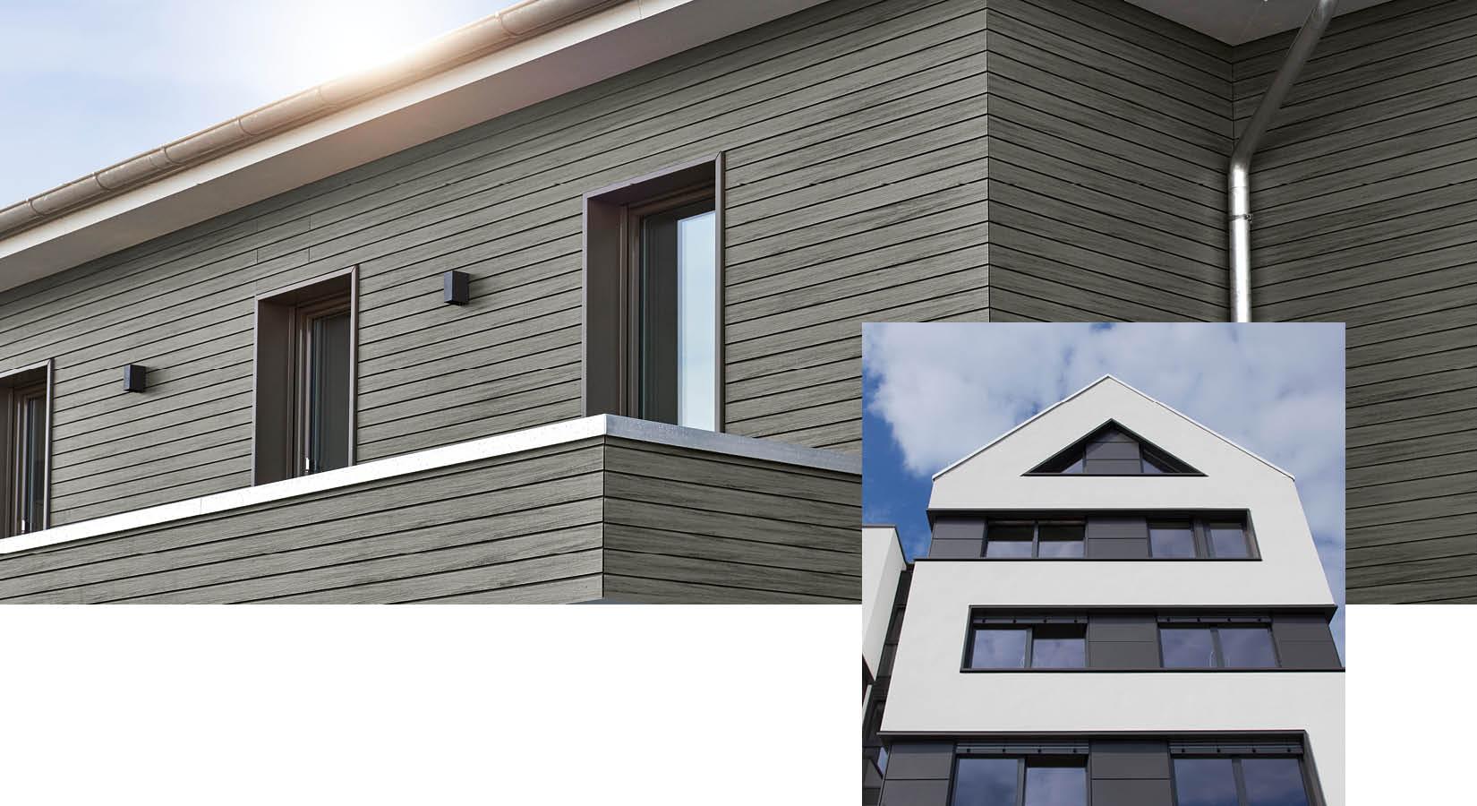 Holzfassade und verputzte Fassade von Schwarz & Sohn