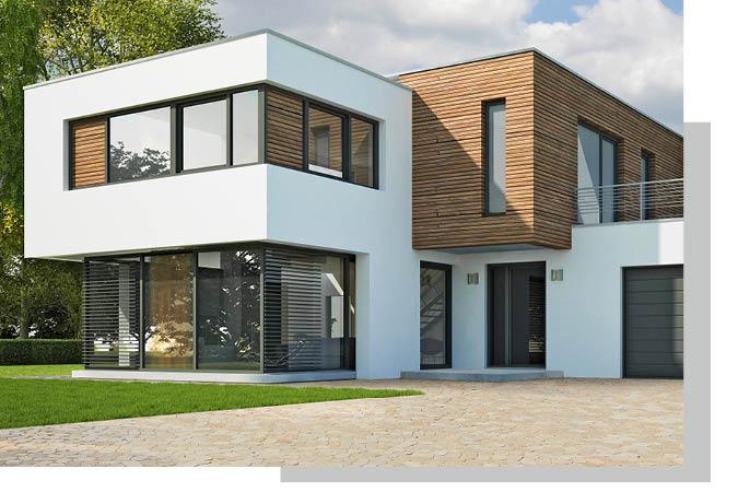 Verputzte Fassade mit Holzelementen von Schwarz & Sohn
