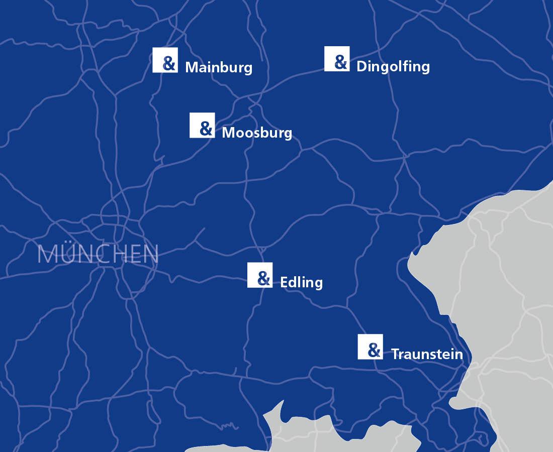 Schwarz & Sohn Standorte auf einer Karte Dingolfing, Edling, Mainburg, Moosburg, Traunstein