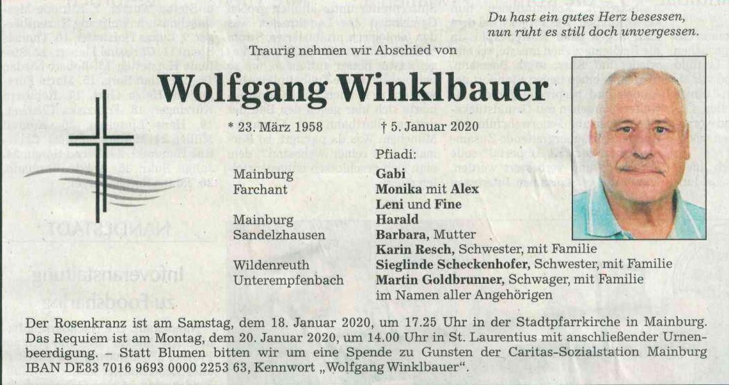Nachruf Wolfgang Winklbauer
